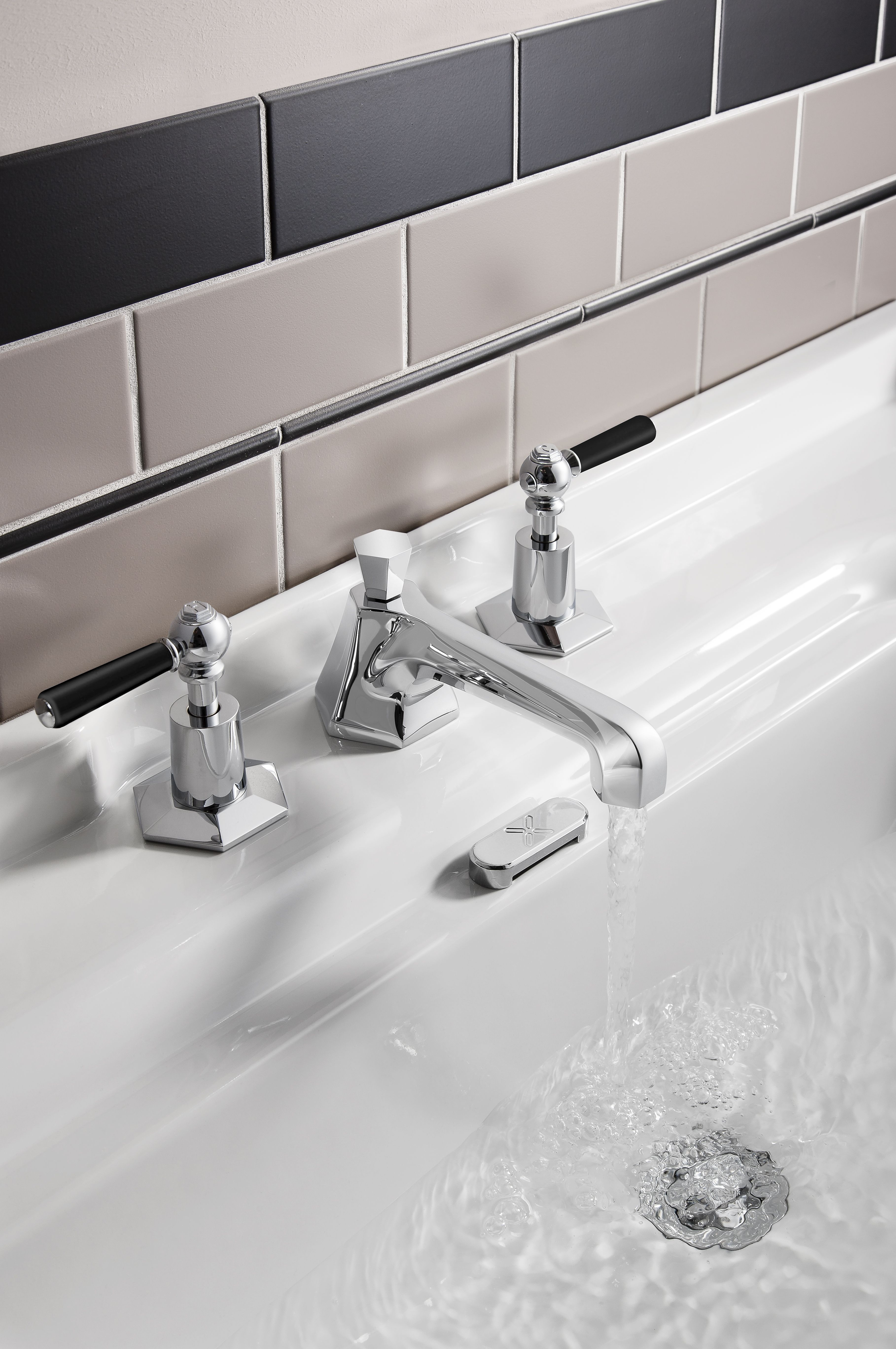 Stylish lever tap handles - Waldorf Black Lever basin 3 hole set ...