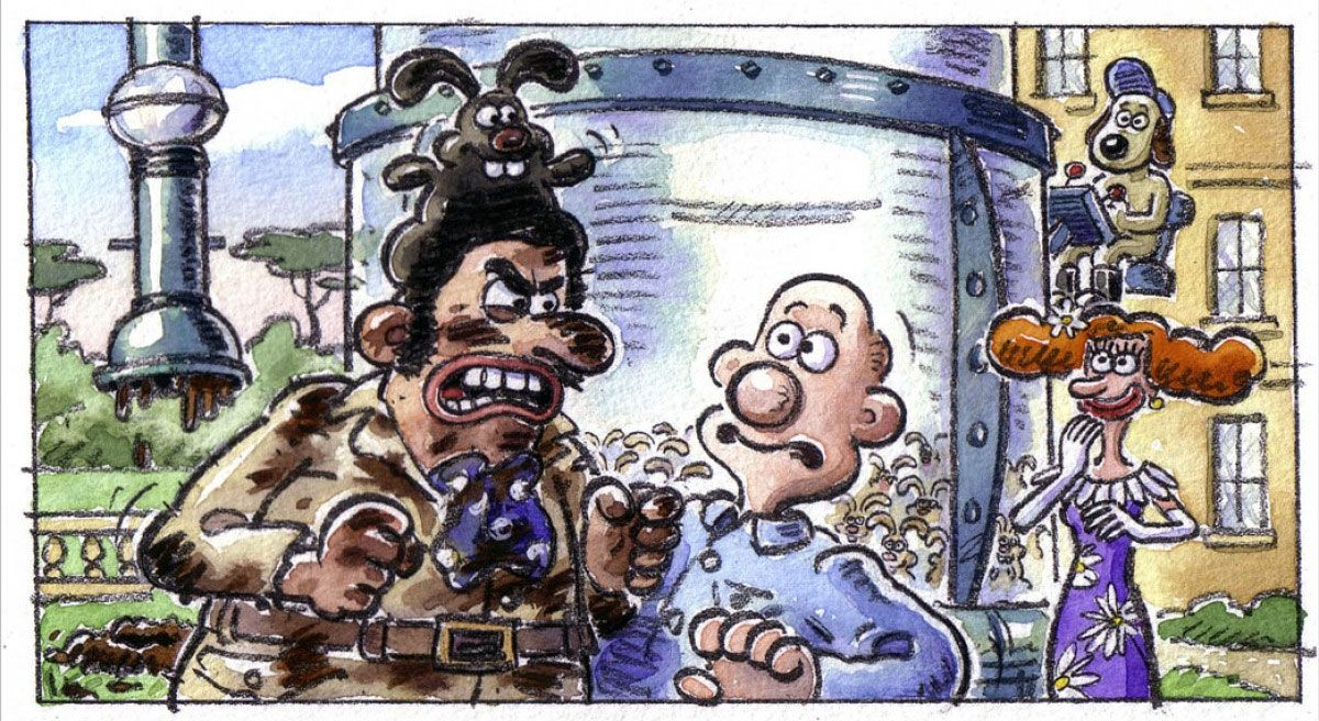 Wallace And Gromit Storyboard Panel Curse Of The Wererabbit