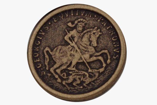 5 Stück messing bronze MetallKnöpfe Heiliger Georg 15mm oder 23mm