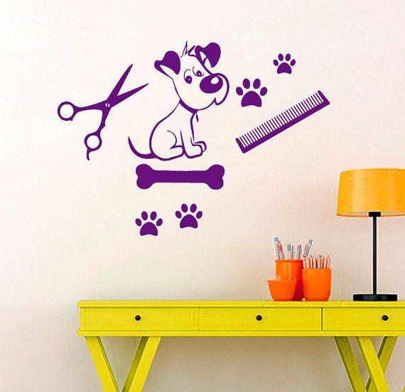 Cat Dog Wall Decal Pet Shop Vinyl Stickers Pet Grooming