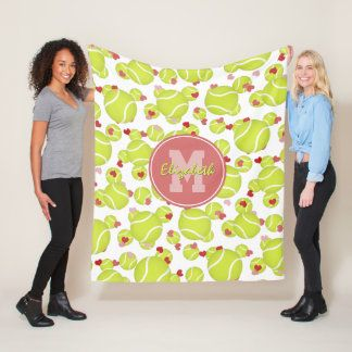 Girls Monogrammed Tennis Balls Hearts Pattern Fleece Blanket Zazzle Com Heart Patterns Fleece Fleece Blanket