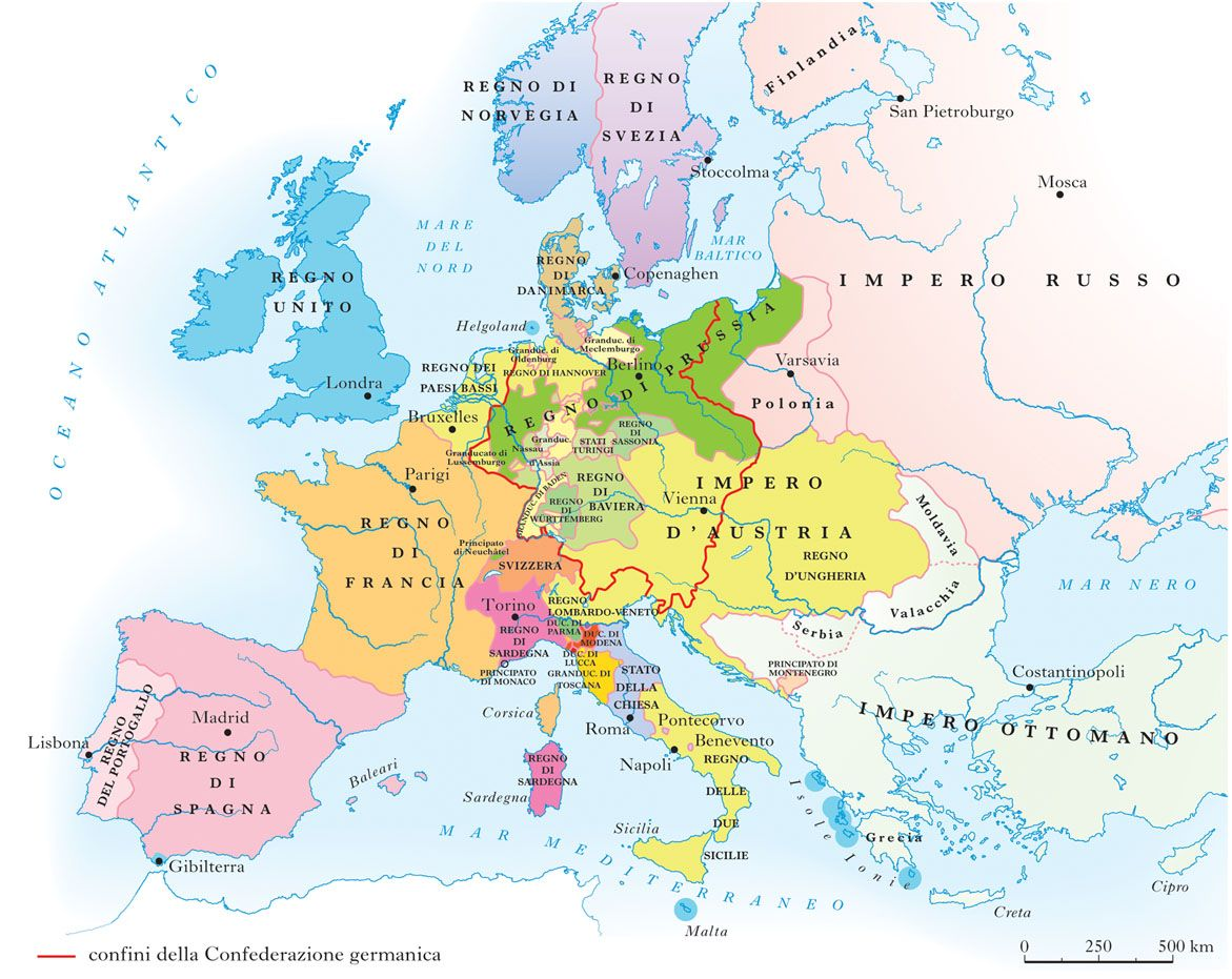 Cartina Italia Politica 1848