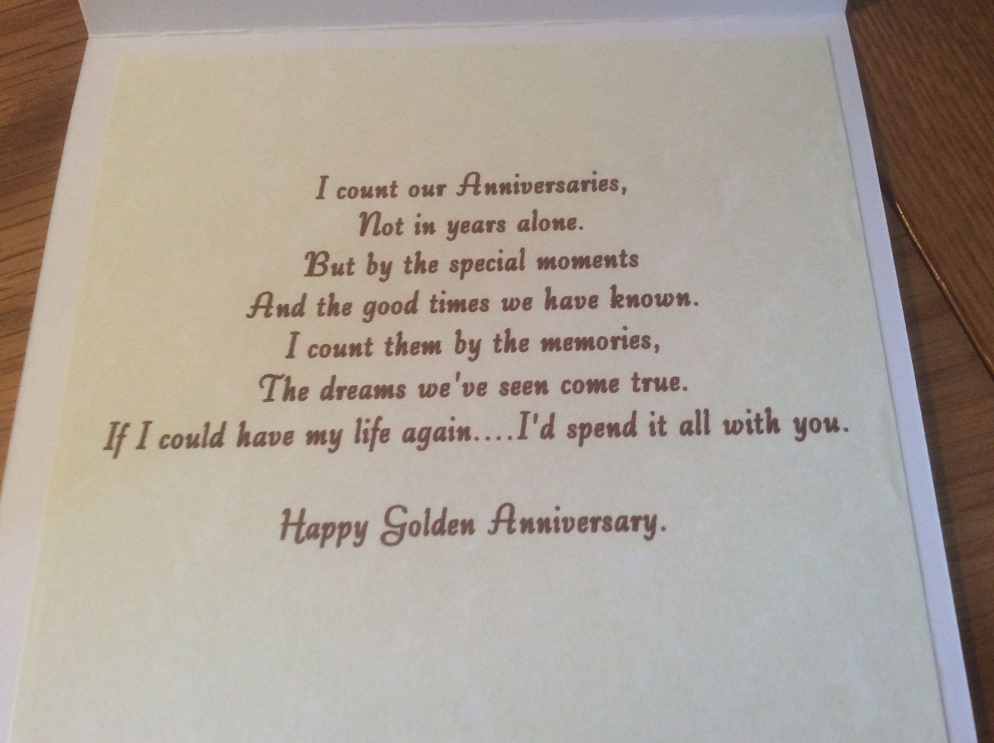 A Golden Wedding Card For My Husband Golden Wedding Anniversary Card Wedding Anniversary Cards Anniversary Verses