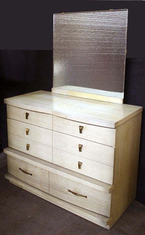 Vintage Bassett Art Deco Blonde Mahogany Wood Wooden Dresser Chest Vanity Mirror Furniture Bedroom Furniture Diy Furniture