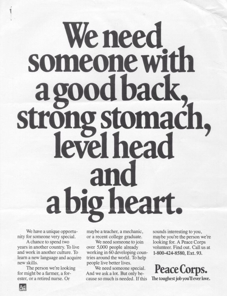 We need someone with a good back, strong stomach, level