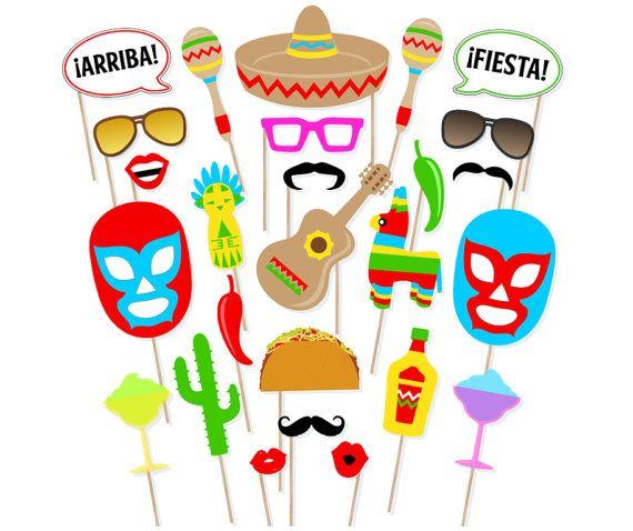 Printable Mexican Fiesta Photo Booth Props Cinco De Mayo Photo