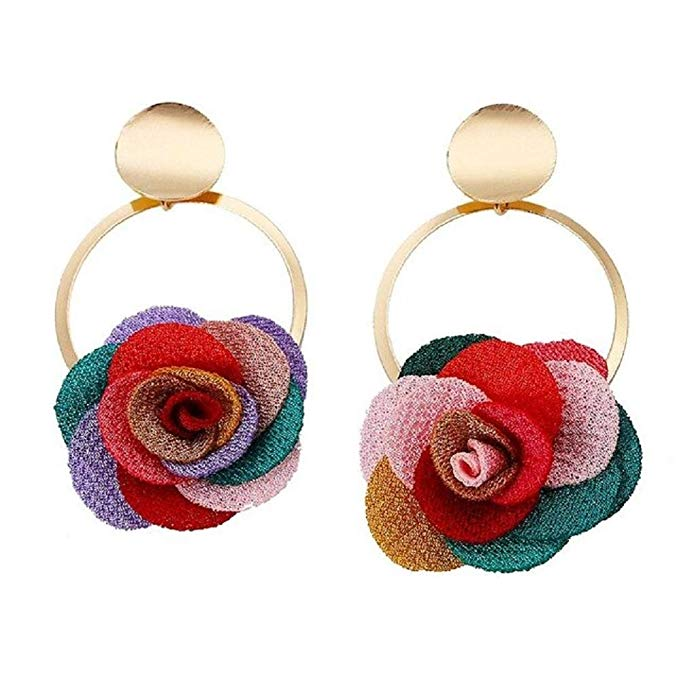 Amazon Com Multi Color Flower Design Fashion Cloth Fabric Cute Rose Flower Drop Earrings For Women Girls Vintage Je Cute Rose Pricing Jewelry Women S Earrings