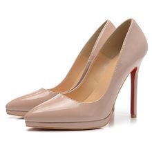 Patent Leather Women Pumps Shoes Red Bottom High Heels Pointed Toe Nude Pump
