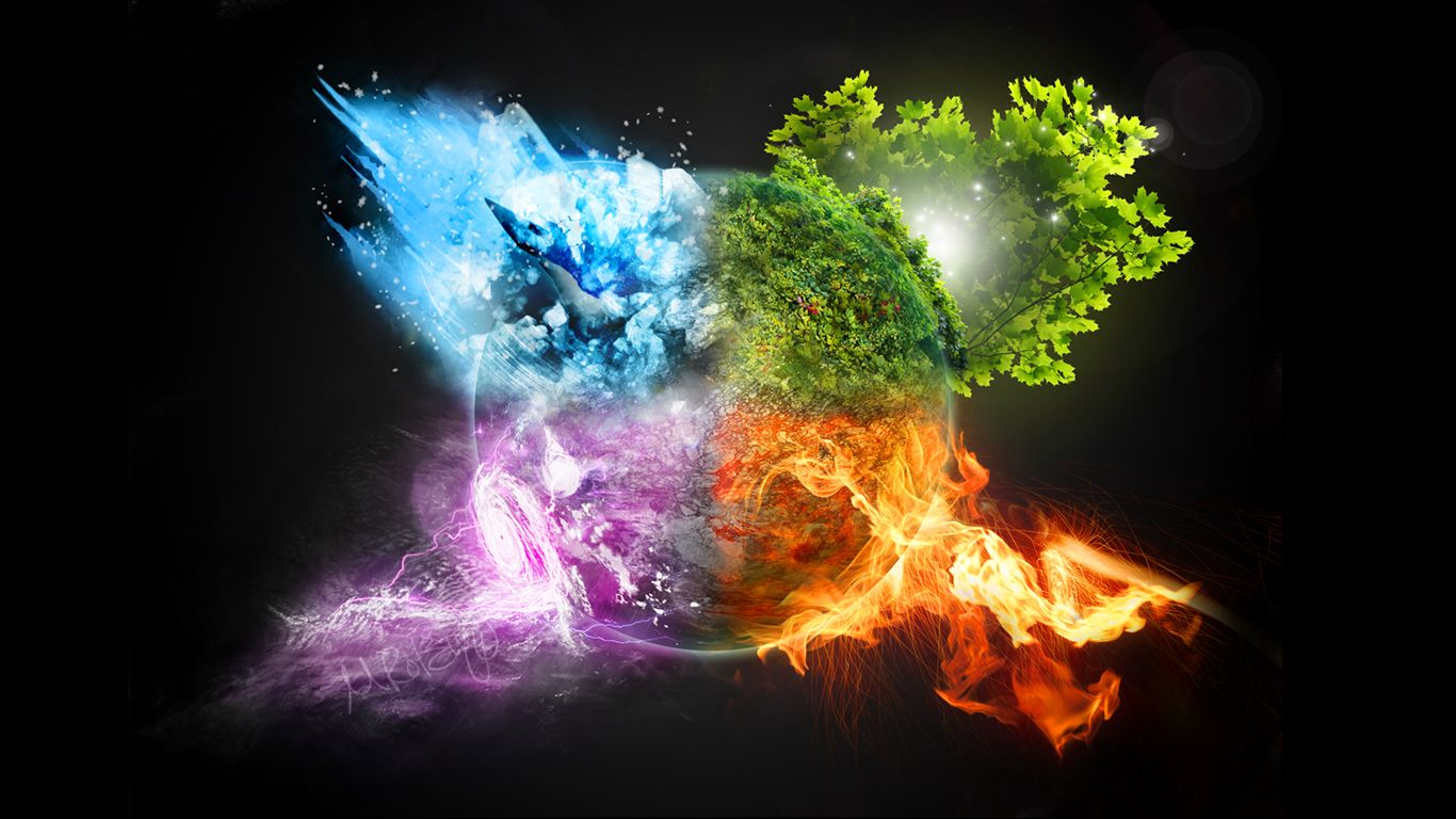 Fire and ice fractal abstract wallpaper hd wallpapers - 4 Seasons Wallpaper By