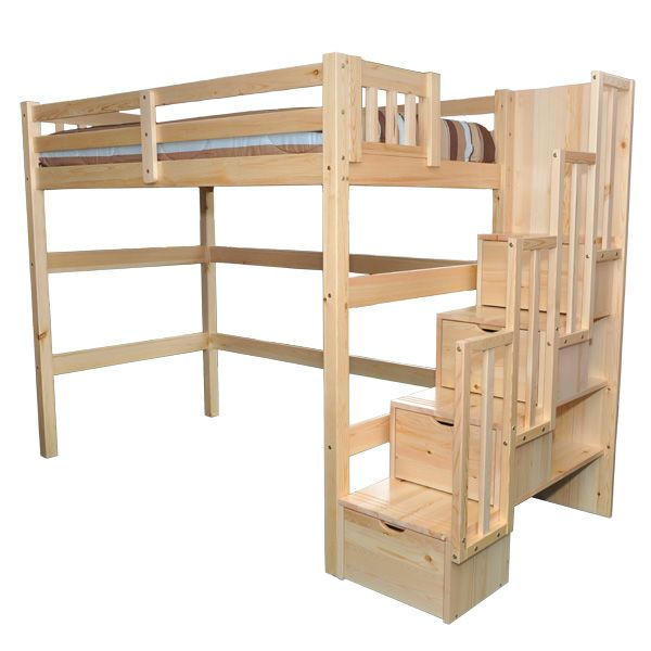 Best Encore Stairway Twin Loft Bed Natural Single Loft Bed 640 x 480