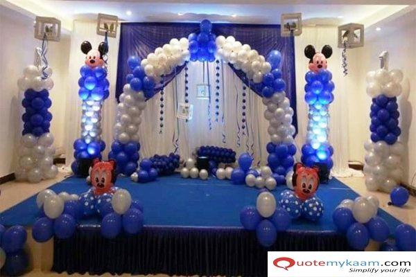 Mickey Mouse Birthday Hall Decoration Birthday Balloon Decorations Simple Birthday Decorations Birthday Decorations At Home