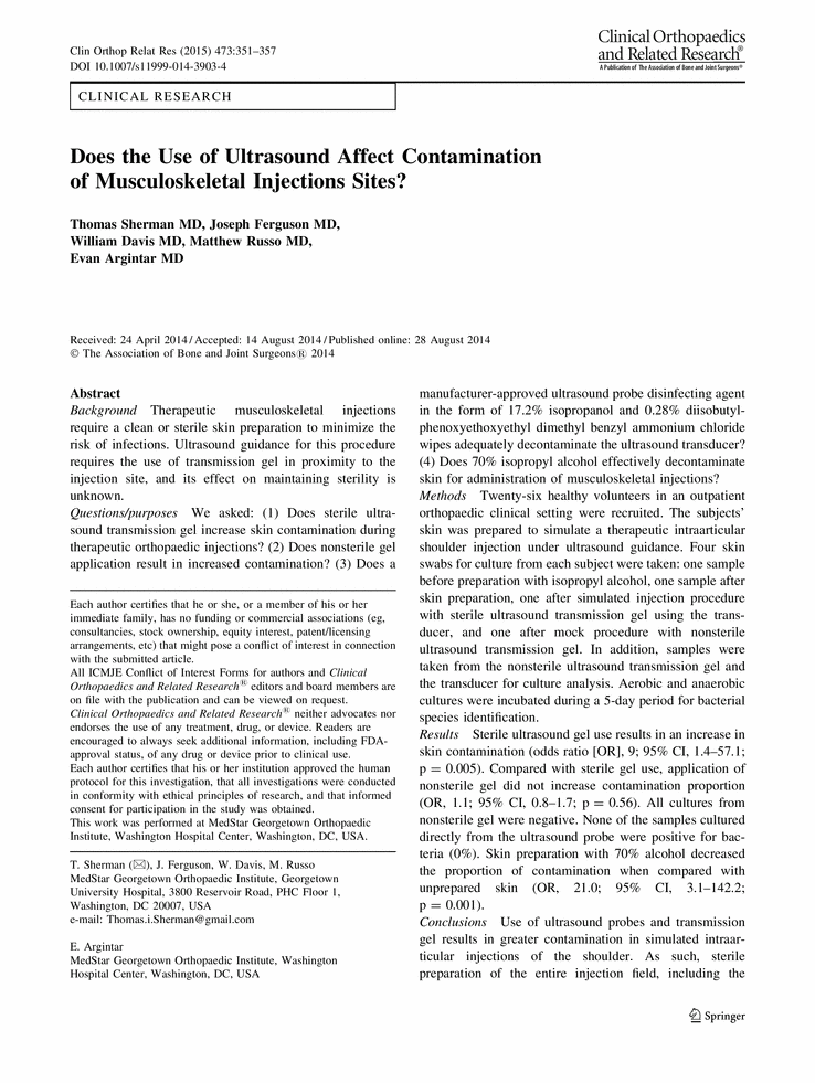 Does The Use Of Ultrasound Affect Contamination Of Musculoskeletal