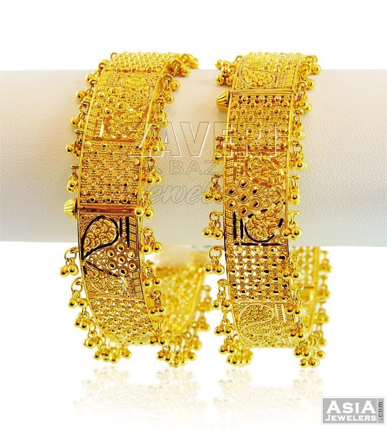 Fancy Googri Gold Kadas 22k (Pair)   Gold kadas   Pinterest   Gold ...