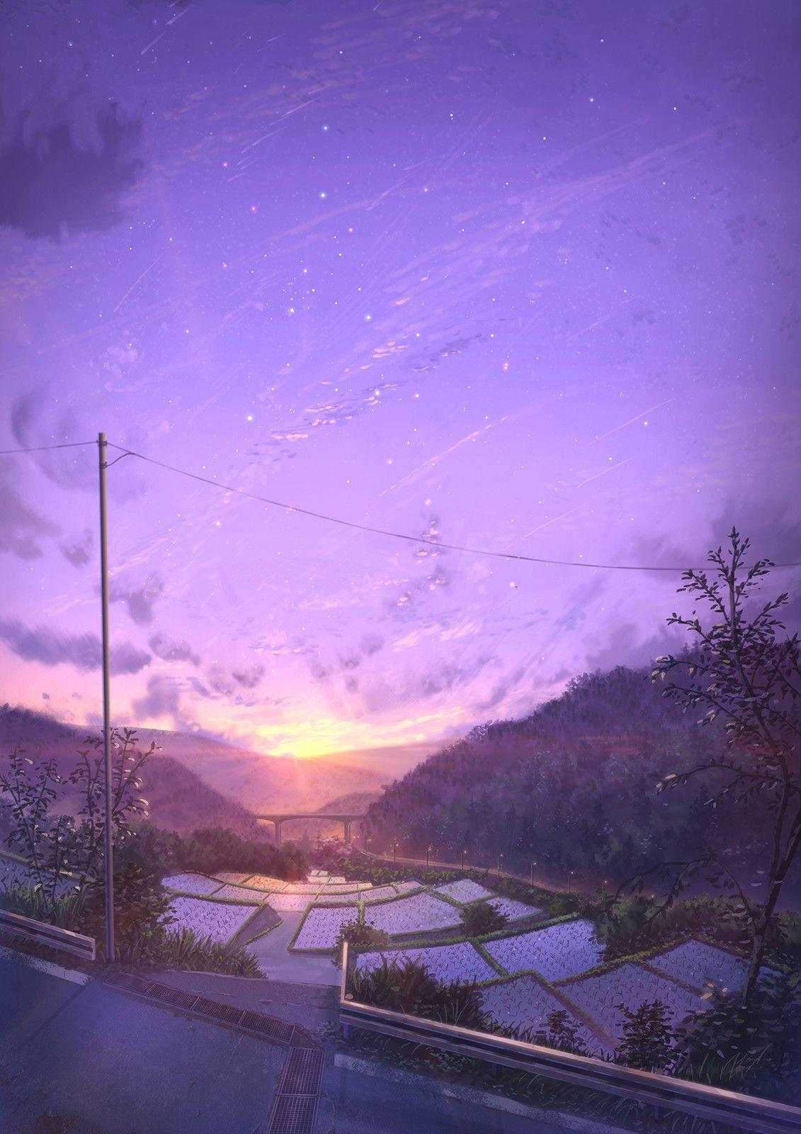 ArtStation Ricefields, JP NIK Anime scenery, Sky anime