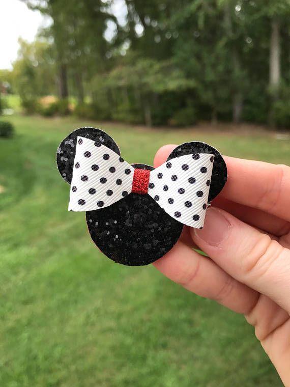 Glitter hair bows girls hair bows Minnie Mouse inspired hair bows Christmas hair bows Christmas hair clips toddler hair bows