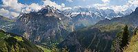 Gimmelwald nestles in Lauterbrunnen Valley under peaks of the Lauterbrunnen Wall, Berner Oberland, Switzerland. | portfolio.photoseek.com