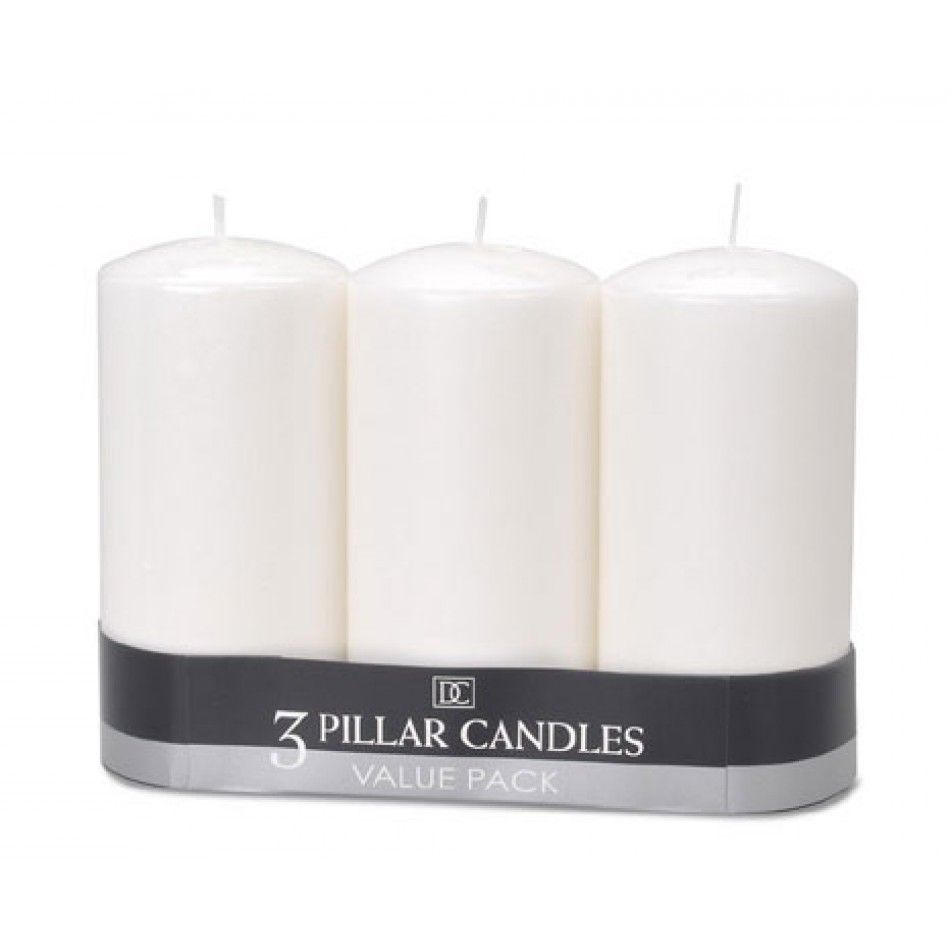 White Unscented Pillar Candles 3 x 6 (3 per pack) [D1162-91 3x6 ...