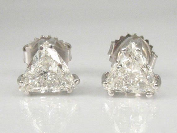 Trillion Cut Diamond Earrings 1 85 Carats Total Weight 3200 00