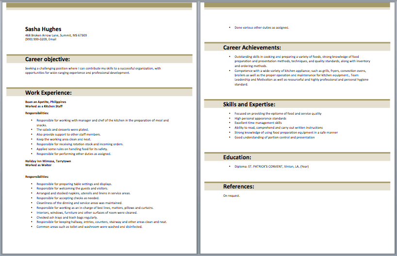 sle resume for kitchen with no experience http