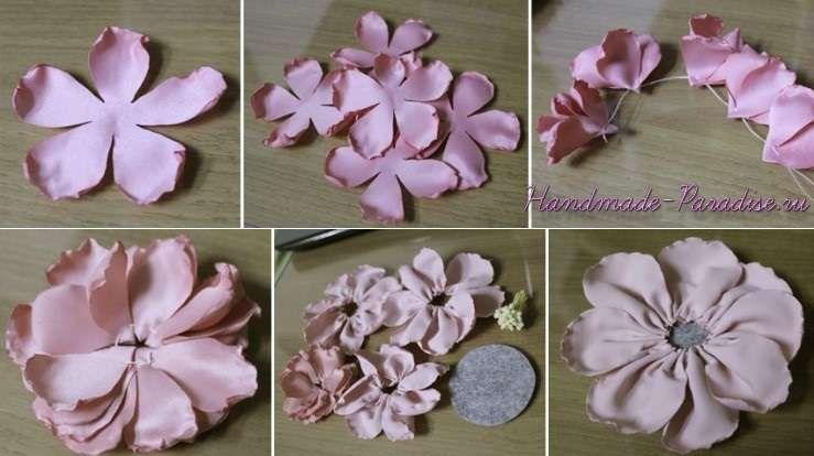 Искусственные цветы из ткани своими руками Крестик 93