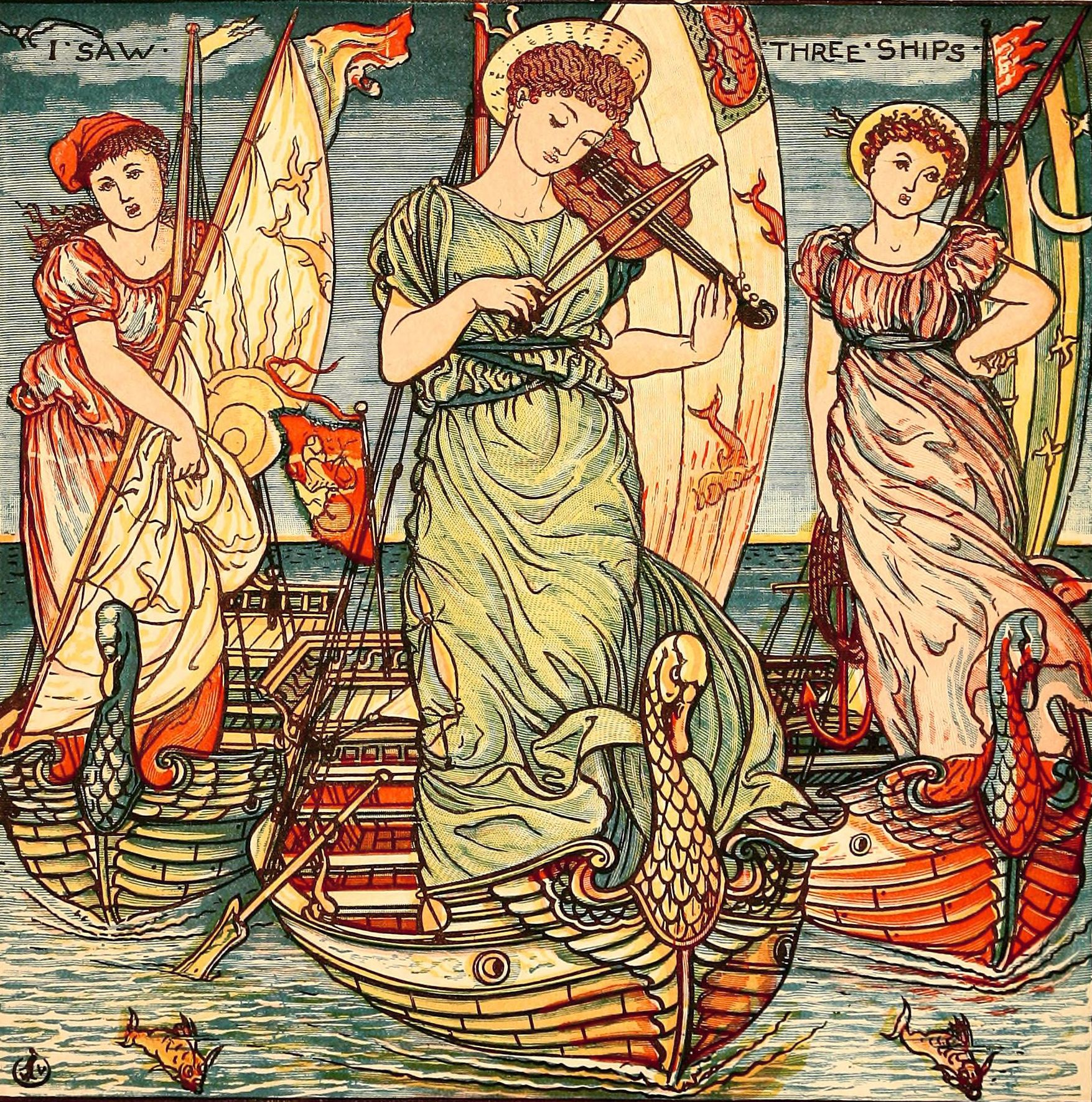 i-saw-three-ships-color-illustration-by-walter-crane-circa-1889     children's book   Pinterest ...