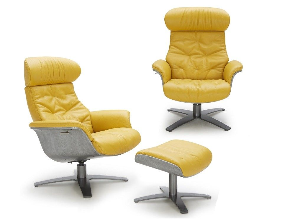 Karma Lounge Chair And Ottoman In Mustard Leather Wood Lounge Chair Lounge Chair Chaise Chair