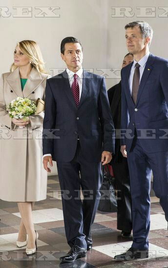 Mexican President state visit to Denmark - 13 Apr 2016 Mexican President HE Enrique Pena Nieto and First Lady Angelica Rivera, HRH Crown Prince Frederik 13 Apr 2016