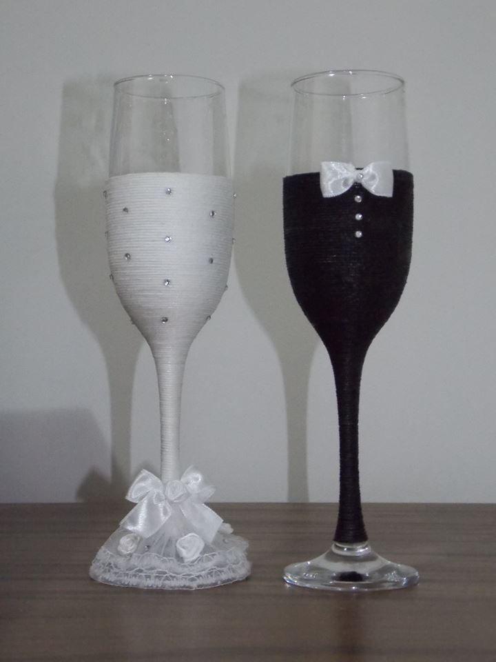 Wedding Couple Champagne Glasses Glass Bottle Decorations