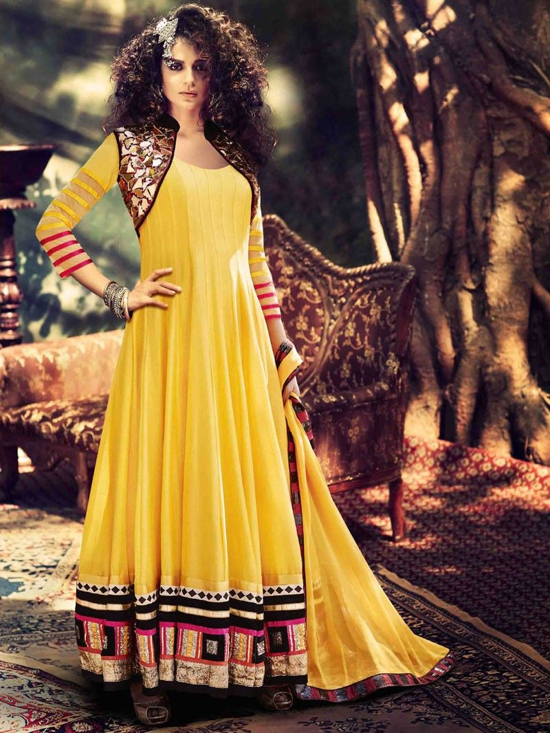 Yellow Partywear  Embroidered Anarkali Suit