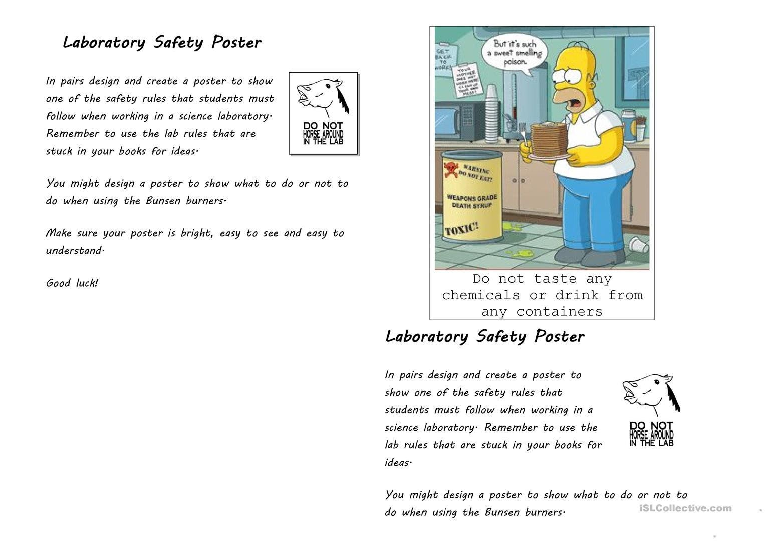 Lab Safety Worksheet Answers Laboratory Safety Poster English Esl Worksheets For In 2020 Kids Worksheets Printables Lab Safety Free Math Worksheets