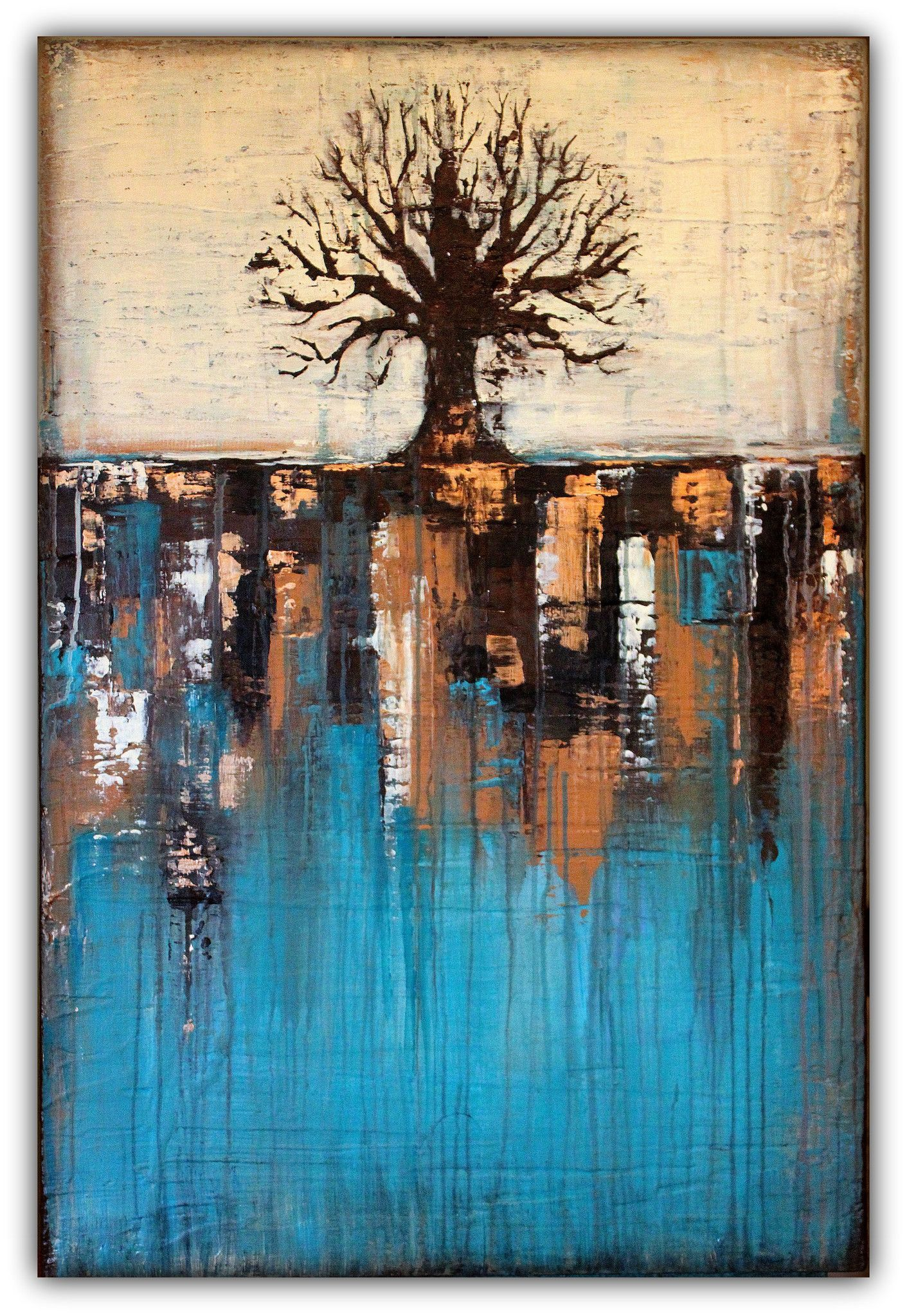 abstract tree in teal landscape � sold grΘup bΘard shop