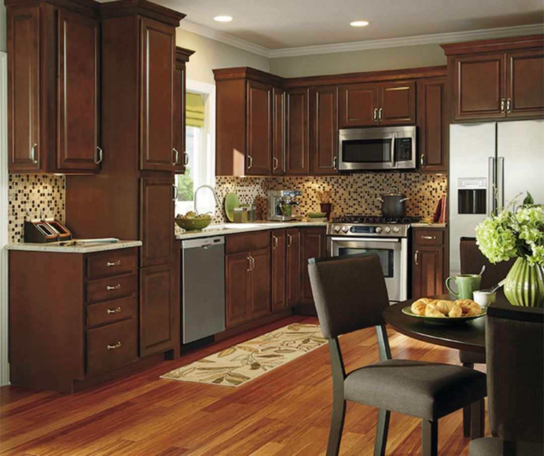 Marvelous Stunning 9+ Dark Wood Kitchen Cabinets Design Ideas for ...