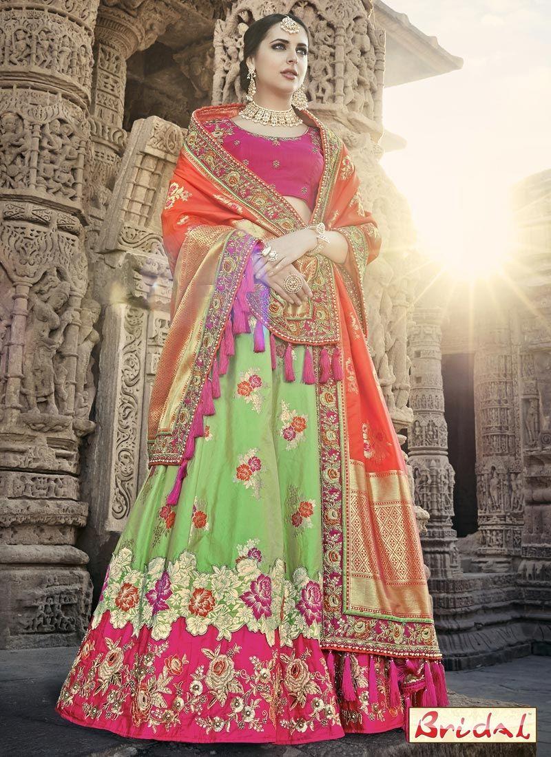 46fabba070 Buy stylish and trendy lehenga choli, from our wide range of lehenga choli  online. Shop this honourable green and hot pink lehenga choli for bridal,  ...