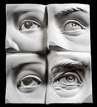 Eye Examples Plate: How to demos shown in book Portrait Sculpting by Philippe Faraut http://philippefaraut.com/store/art-reference-casts/anatomical-casts/sculpting-eye-plate.html