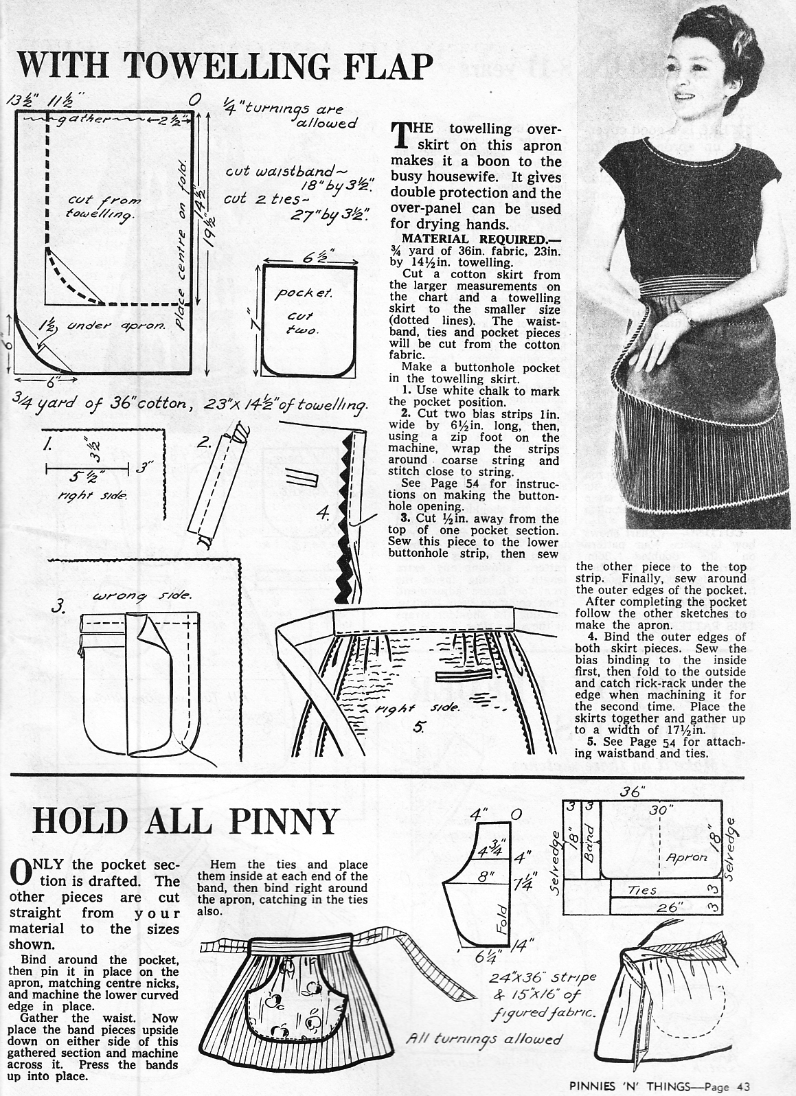 Friday Freebie: Vintage Apron Patterns | Dalenatales y ropa de ...