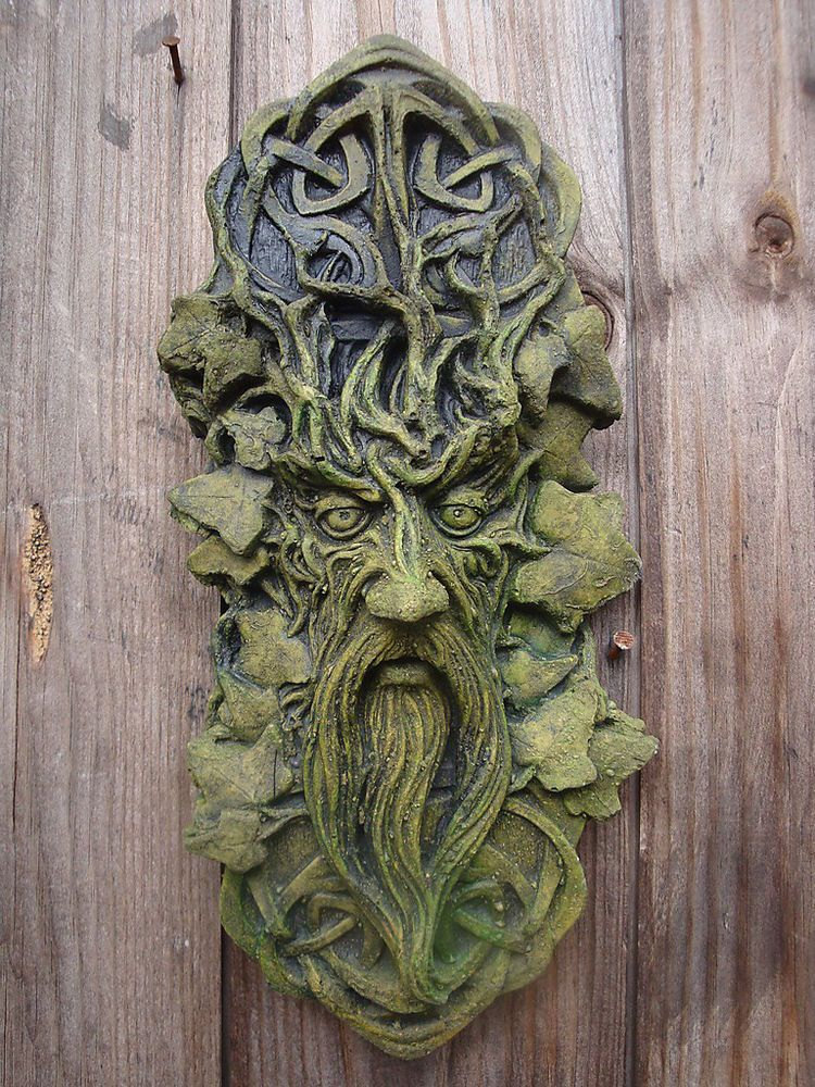 Celtic Green Man Decorative Wall Plaque Stone Home Garden Ornament + Free  Gift