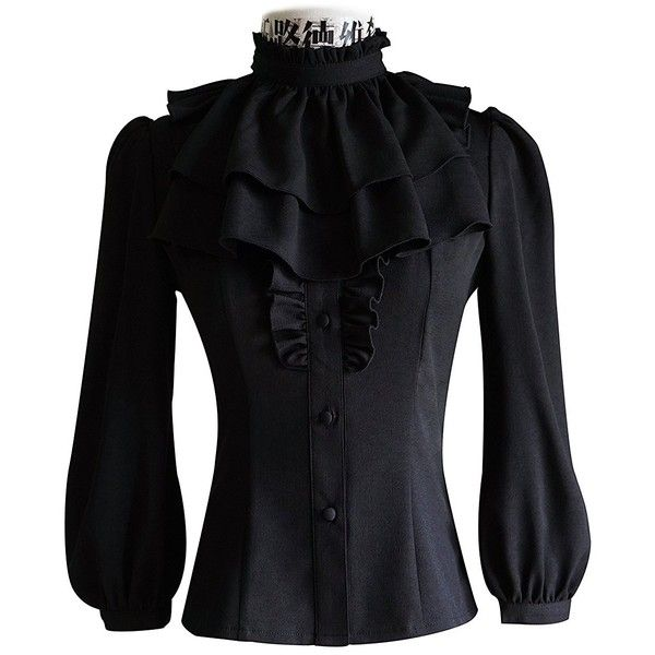 Exclusive Vintage Designer Fashion Cyber Gothic Puffy Sleeves Blouse &... (€62) ❤ liked on Polyvore featuring tops, blouses, puffed sleeve top, puffed sleeve blouse, puff sleeve top, puffy sleeve blouse and gothic blouse