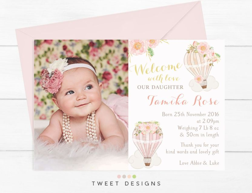 Floral Girl Birth Announcements Printable Birth Announcements Baby - Girl birth announcements