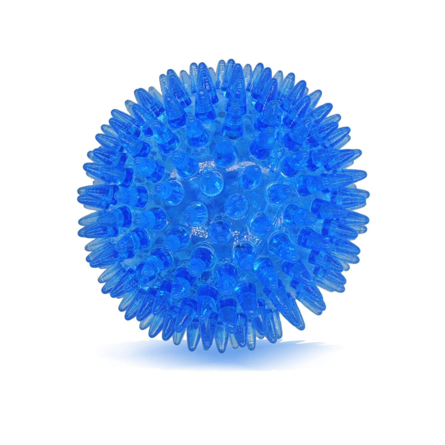 Dilight Blue Medium Large Squeaker Spiky Ball Dog Toy Light Chew