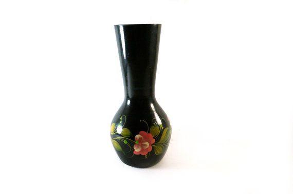 Vintage Metal Vase With Flower Painting Small Flower Vase Black