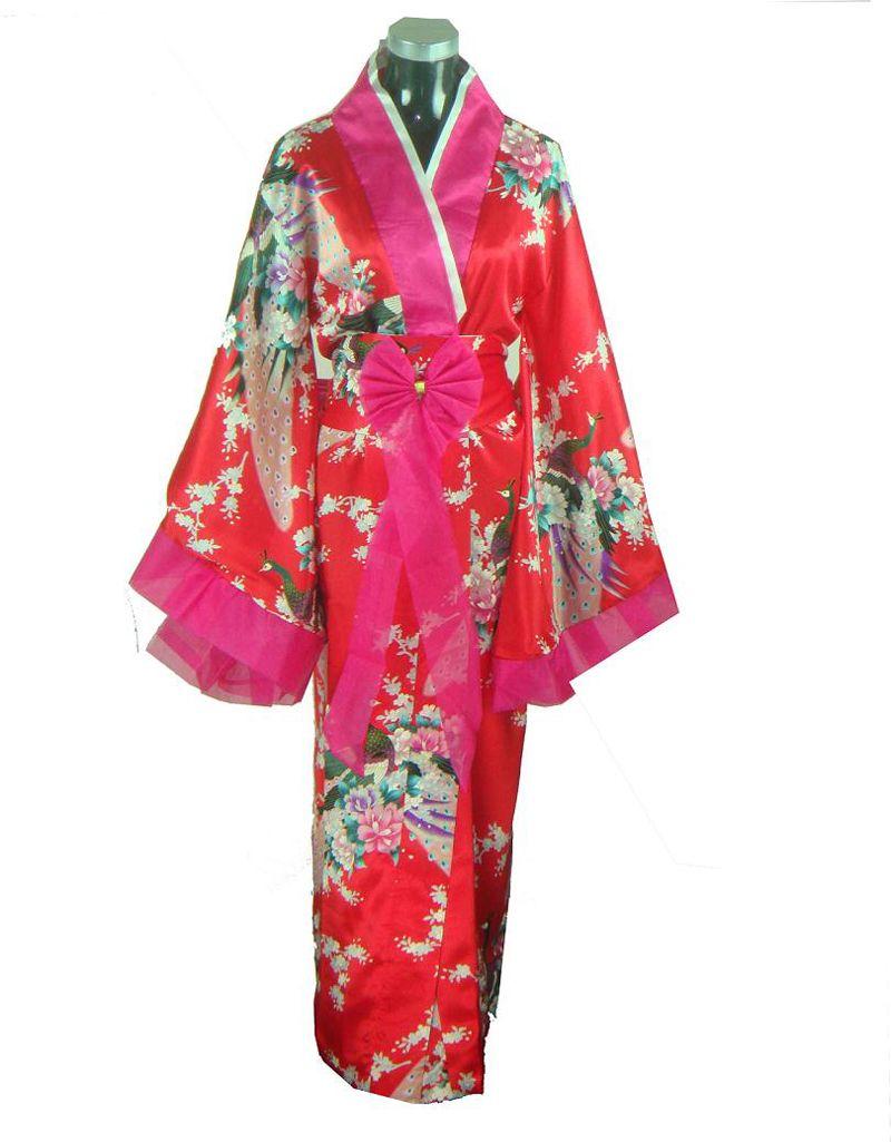 Red Traditional Japanese Women Kimono Yukata With Obi Silk ...