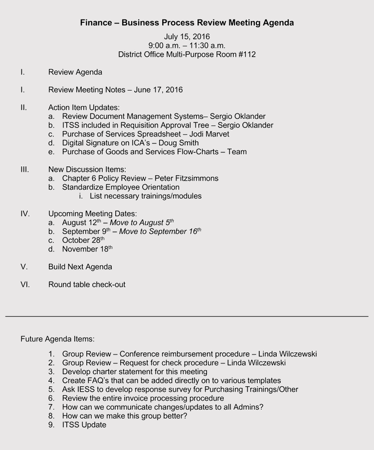 Format Of Sample Business Meeting Invitation With Agenda