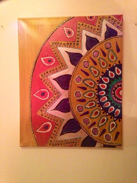Bohemian Pattern Painting Etsy Boho Canvas Art Painting Patterns Painting