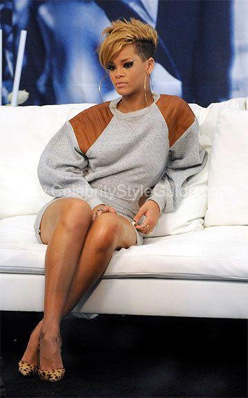 Rihanna - Alexander Wang Leather Insert Cotton Sweatshirt