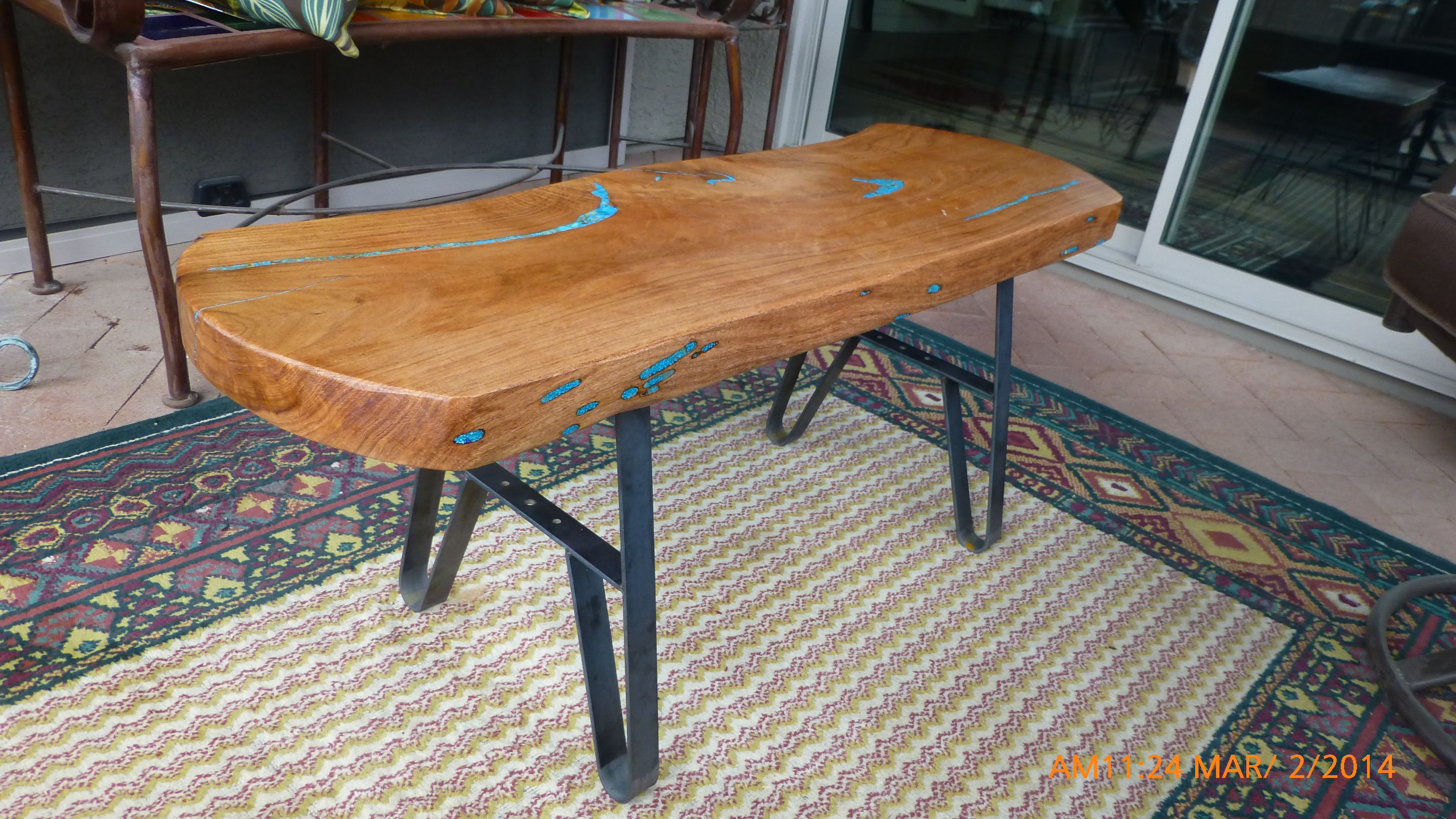 Rustic Metal Bench/Coffee Table Leg Entry Seat By RusticLiving