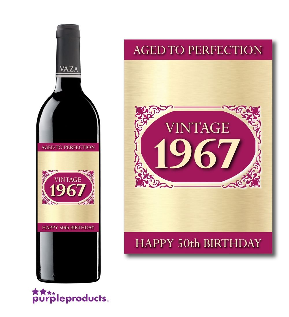 50th Birthday Liquor: Vintage 1967 Happy 50th Birthday, Aged To Perfection Wine