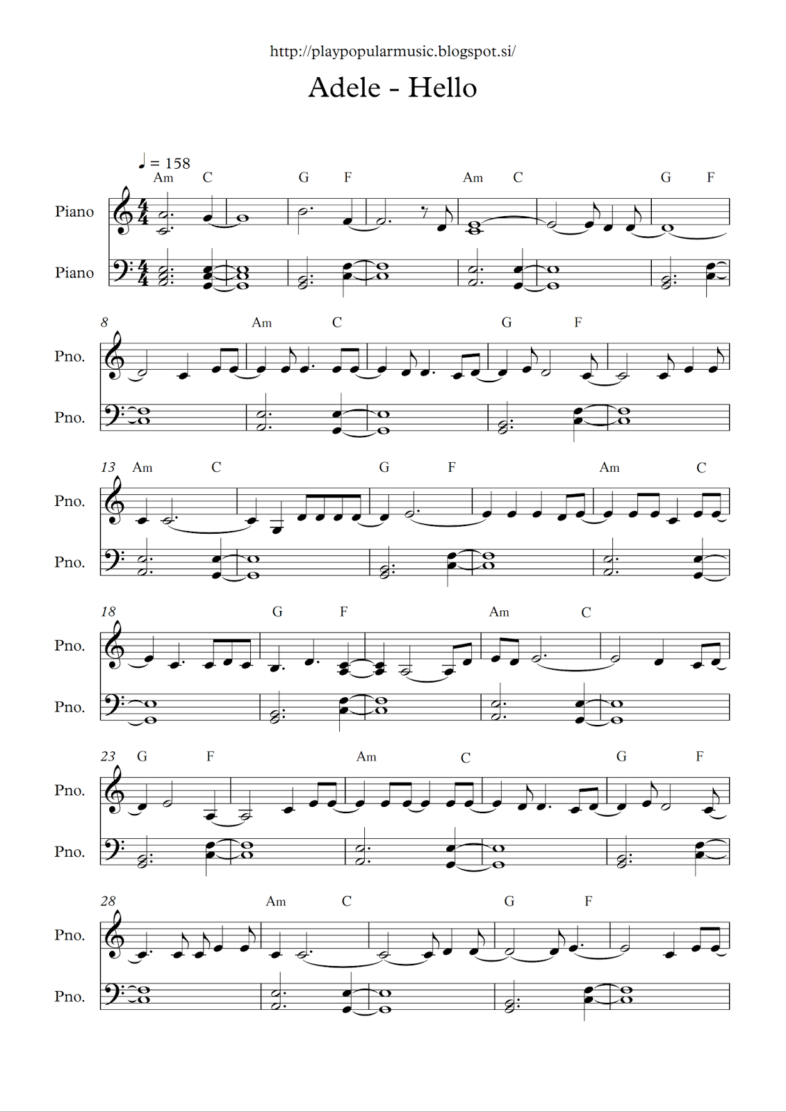 Free full piano sheet music:   Adele – Hello.pdf       My favourite sentence f…