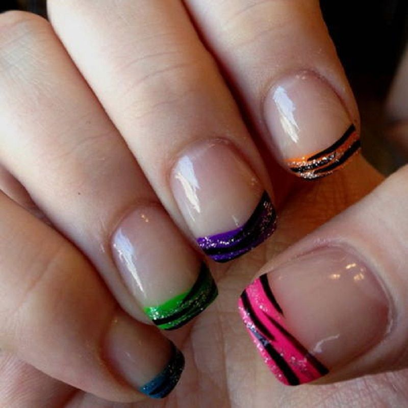 Easy Zebra Nail Designs In Short Nails With Multicolored Nail Colors