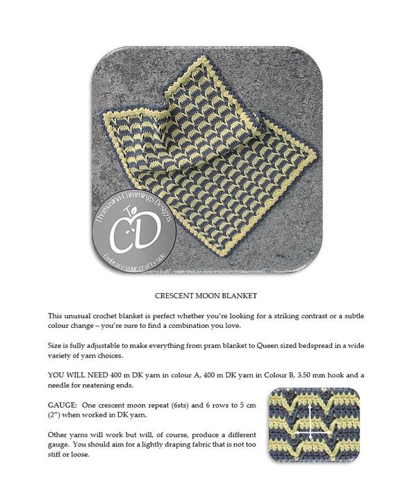 Crochet blanket Crescent Moon Dropped Chevron by TCDesignsUK ...