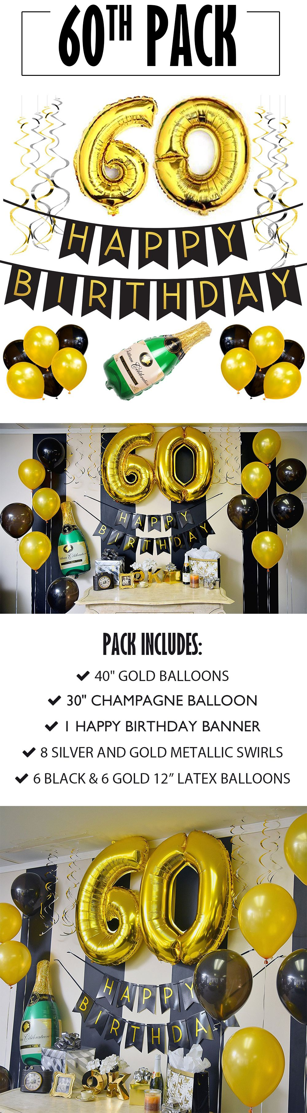 60th Birthday Banner And Balloon Pack